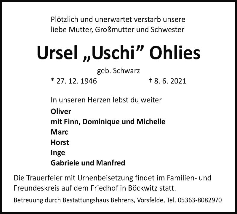 Traueranzeige für Ursel Ohlies vom 11.06.2021 aus UEL