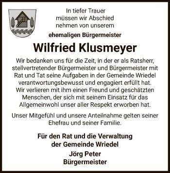 Traueranzeige von Wilfried Klusmeyer von UEL