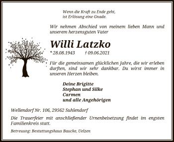 Traueranzeige von Willi Latzko von UEL