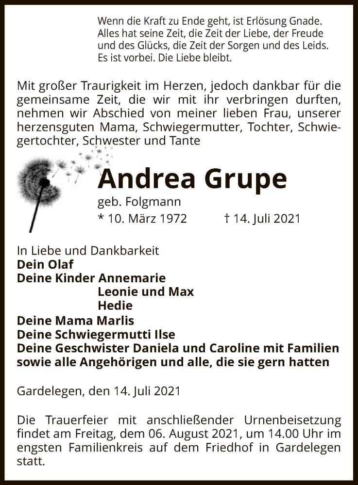 Traueranzeige für Andrea Grupe vom 21.07.2021 aus UEL