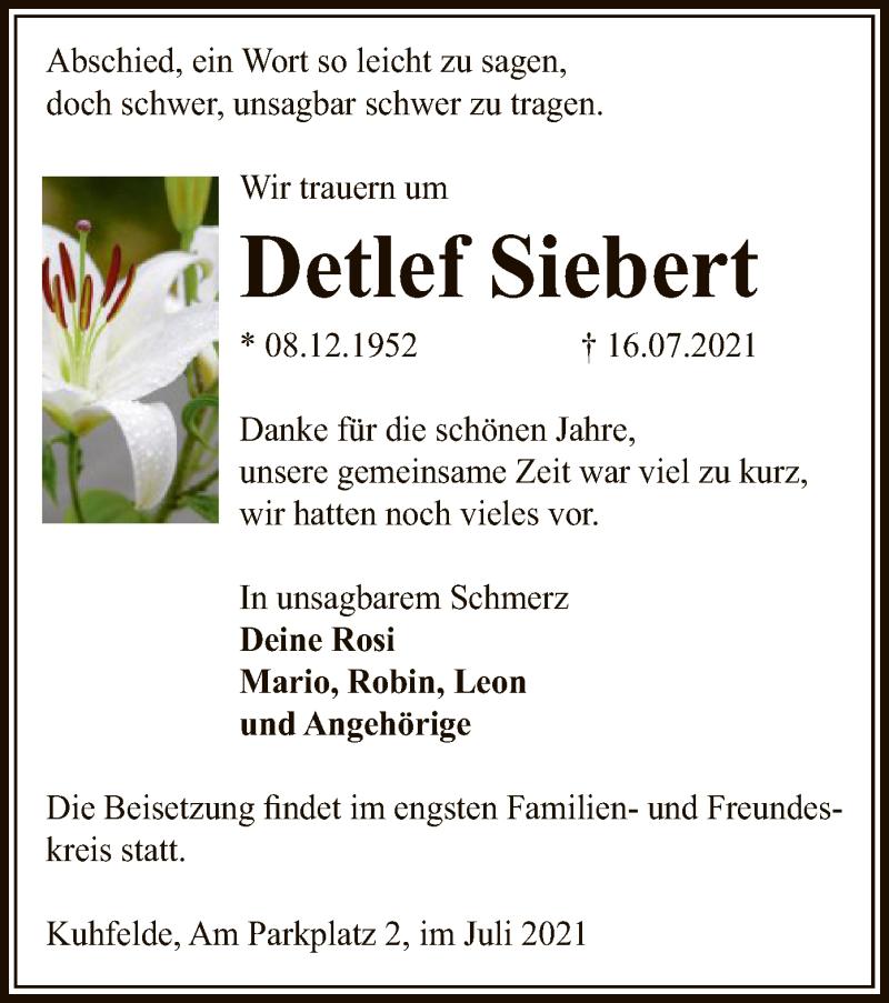 Traueranzeige für Detlef Siebert vom 20.07.2021 aus UEL