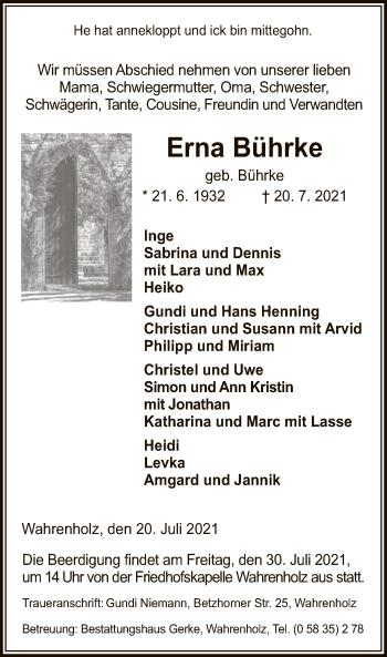Traueranzeige von Erna Bührke von UEL
