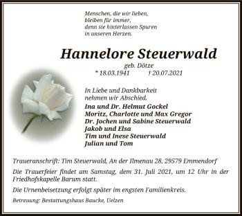 Traueranzeige von Hannelore Steuerwald von UEL