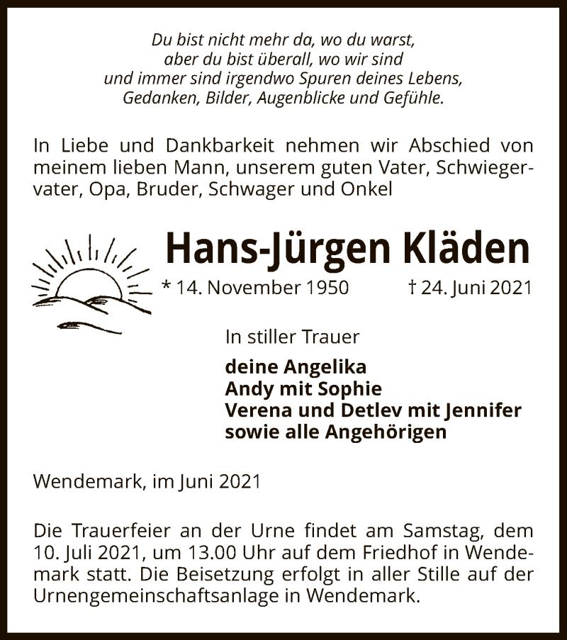 Traueranzeige für Hans-Jürgen Kläden vom 01.07.2021 aus UEL