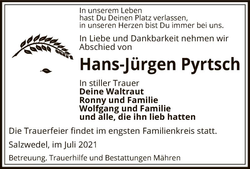 Traueranzeige für Hans-Jürgen Pyrtsch vom 14.07.2021 aus UEL