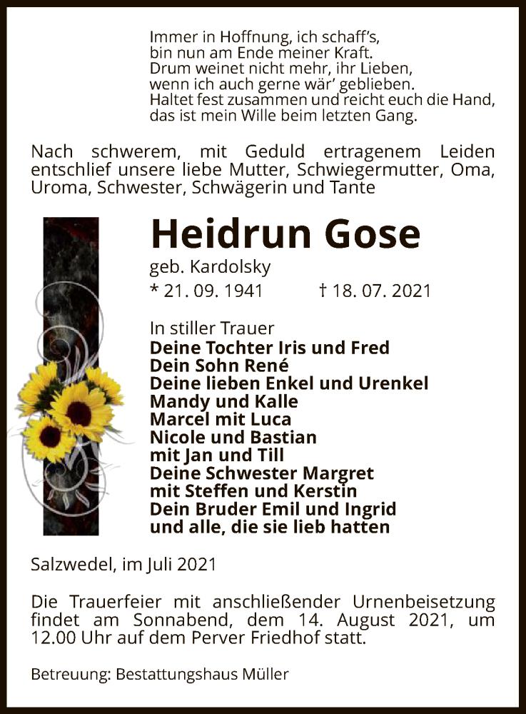 Traueranzeige für Heidrun Gose vom 20.07.2021 aus UEL