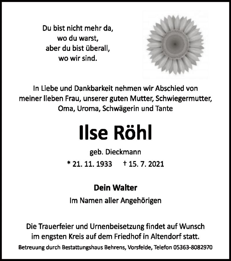 Traueranzeige für Ilse Röhl vom 20.07.2021 aus UEL