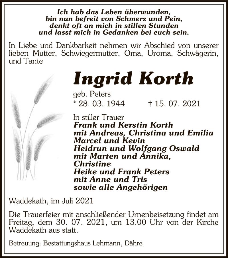 Traueranzeige für Ingrid Korth vom 17.07.2021 aus UEL
