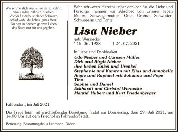 Traueranzeige von Lisa Nieber von UEL