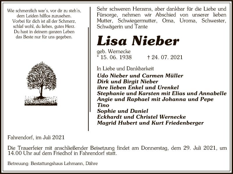 Traueranzeige für Lisa Nieber vom 27.07.2021 aus UEL
