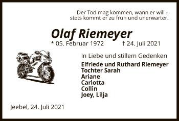 Traueranzeige von Olaf Riemeyer von UEL