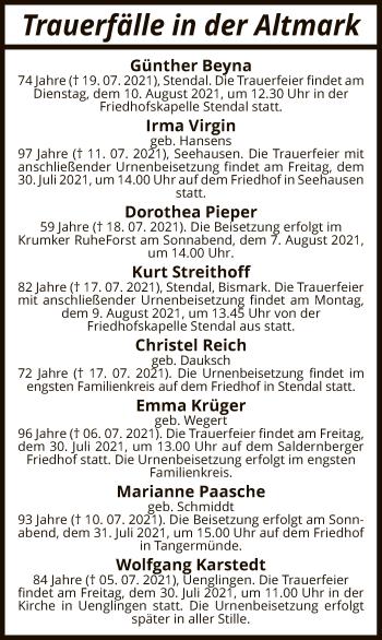 Traueranzeige von Sterbetafel vom 27.07.2021 von UEL