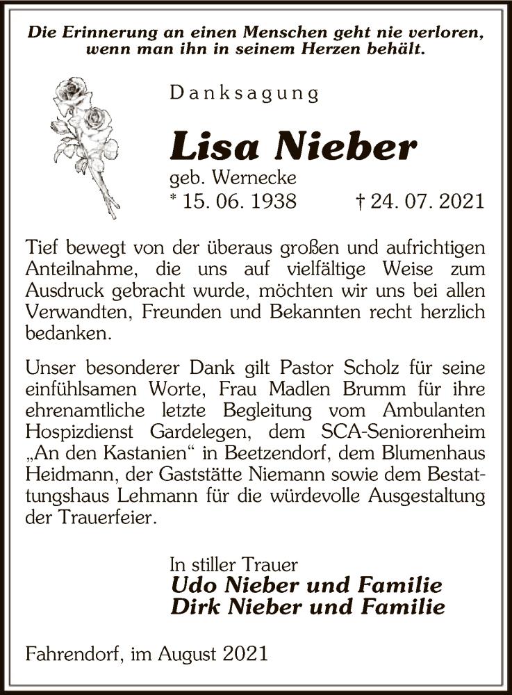Traueranzeige für Lisa Nieber vom 21.08.2021 aus UEL