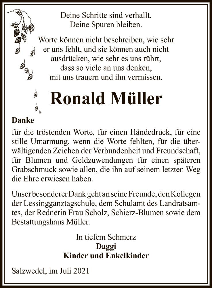 Traueranzeige für Ronald Müller vom 21.08.2021 aus UEL