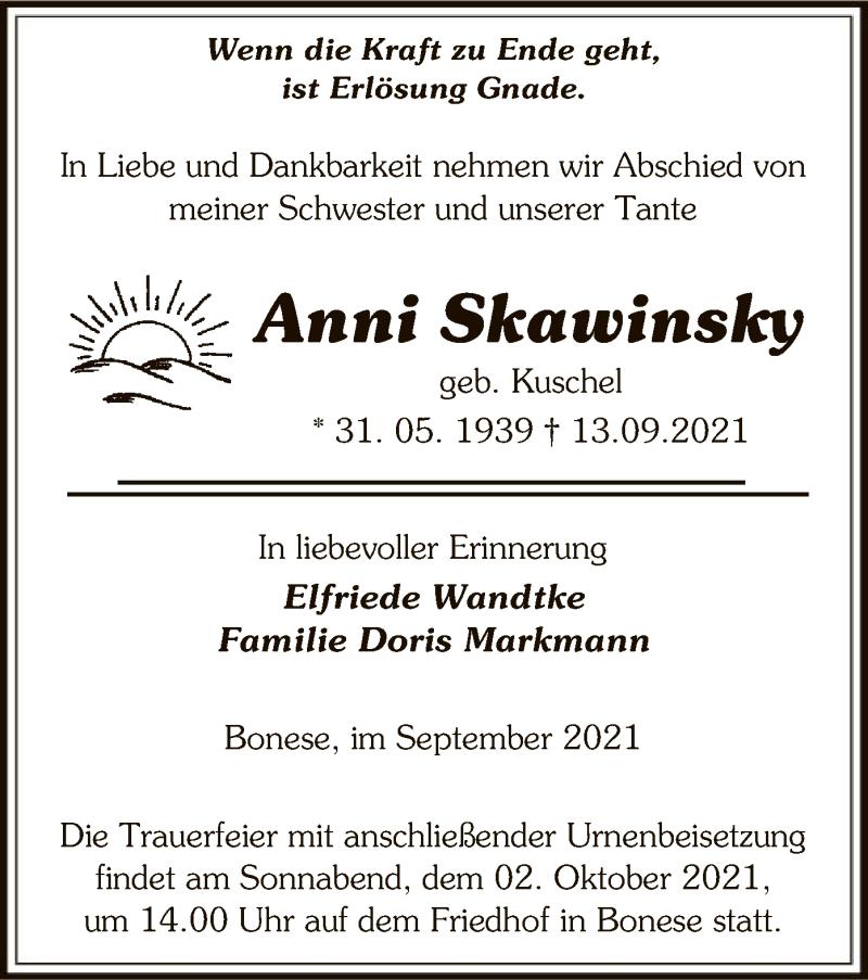 Traueranzeige für Anni Skawinsky vom 15.09.2021 aus UEL