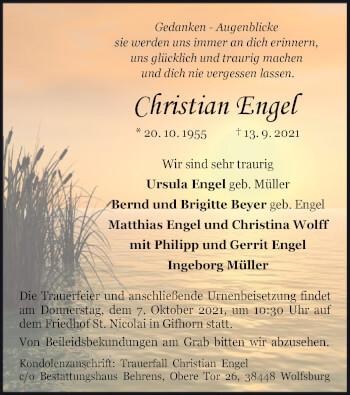 Traueranzeige von Christian Engel von UEL