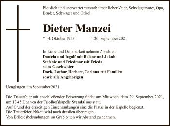 Traueranzeige von Dieter Manzei von UEL