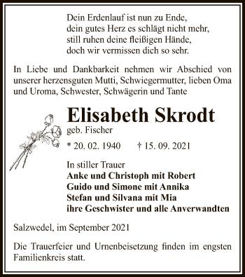 Traueranzeige von Elisabeth Skrodt von UEL