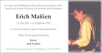 Traueranzeige von Erich Maßien von UEL