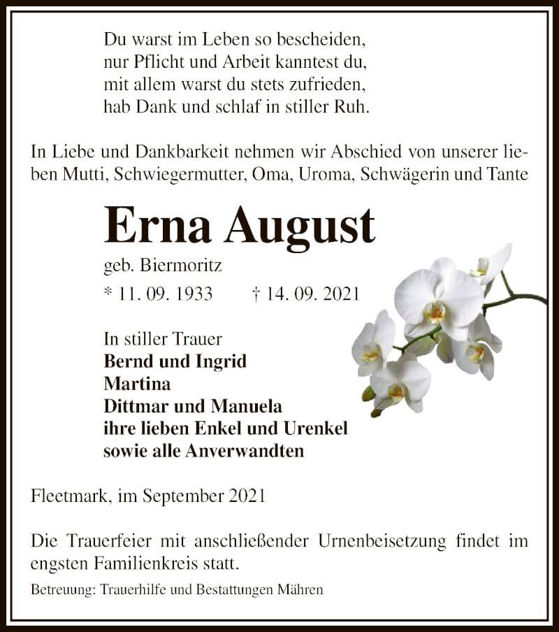 Traueranzeige für Erna August vom 18.09.2021 aus UEL