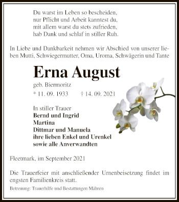 Traueranzeige von Erna August von UEL