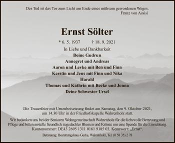 Traueranzeige von Ernst Sölter von UEL