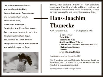 Traueranzeige von Hans-Joachim Thunecke von UEL