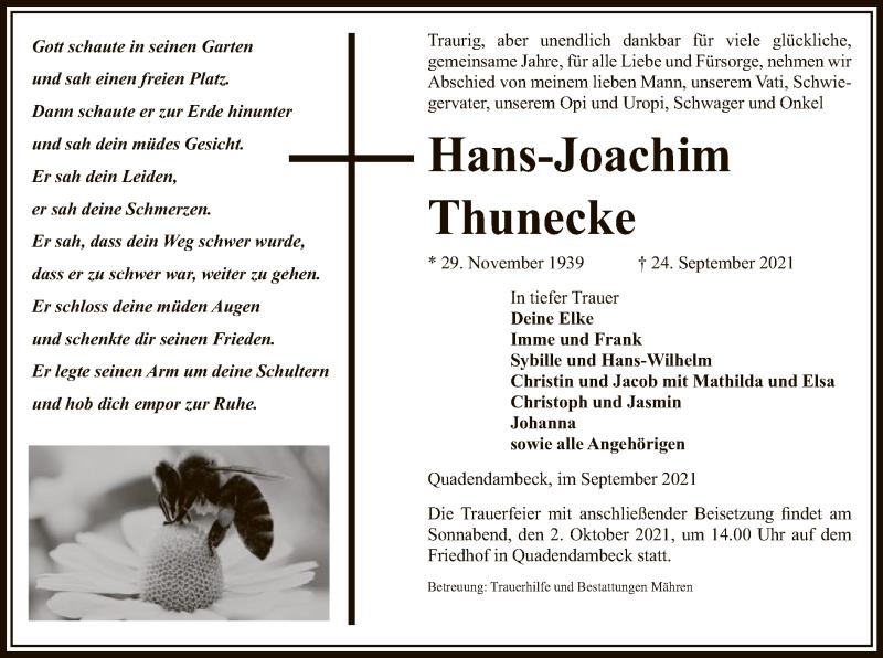 Traueranzeige für Hans-Joachim Thunecke vom 28.09.2021 aus UEL
