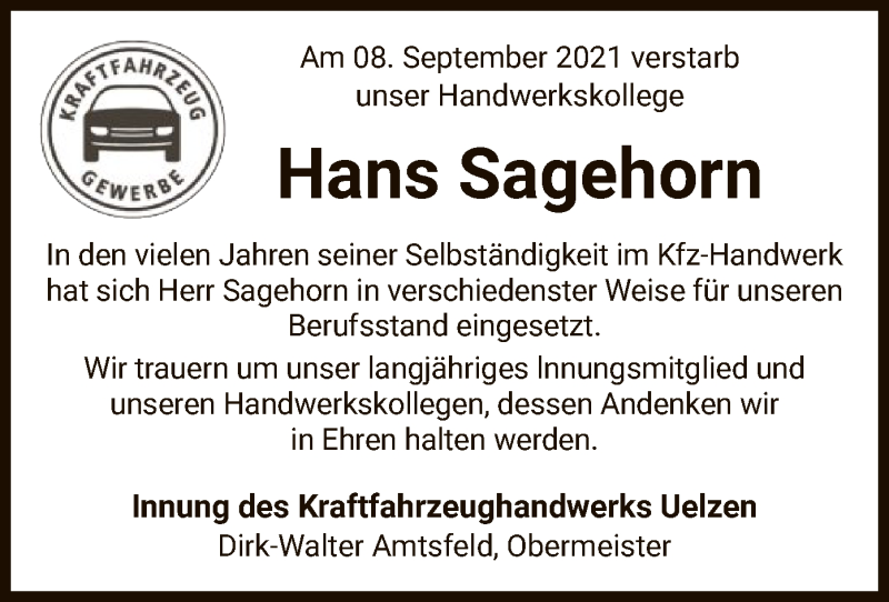 Traueranzeige für Hans Sagehorn vom 15.09.2021 aus UEL