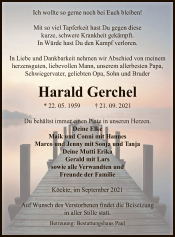 Traueranzeige von Harald Gerchel von UEL