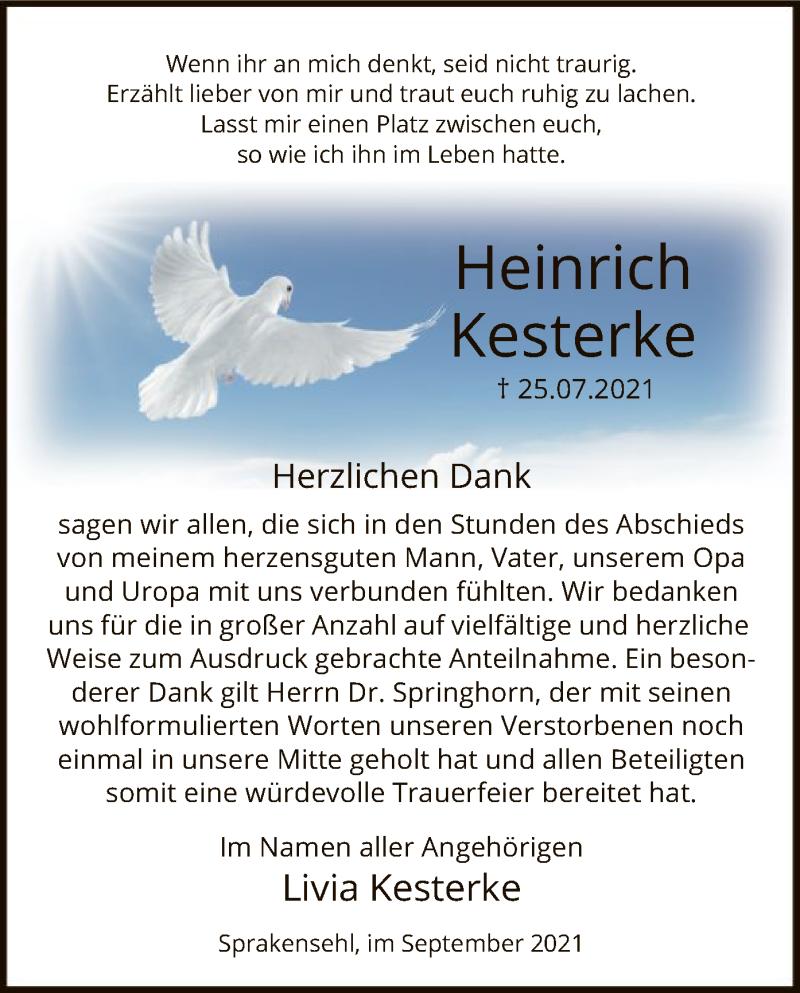 Traueranzeige für Heinrich Kesterke vom 25.09.2021 aus UEL