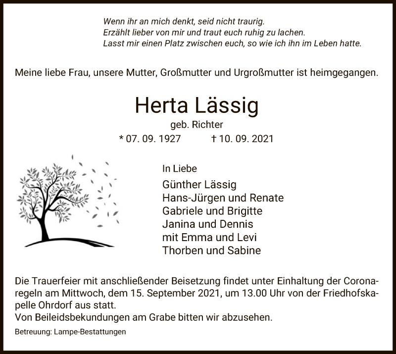 Traueranzeige für Herta Lässig vom 14.09.2021 aus UEL