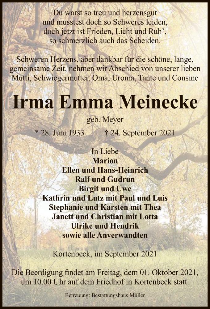 Traueranzeige für Irma Emma Meinecke vom 28.09.2021 aus UEL