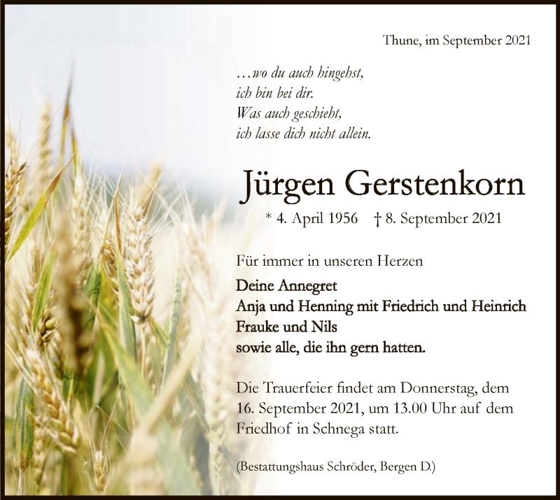 Traueranzeige für Jürgen Gerstenkorn vom 14.09.2021 aus UEL