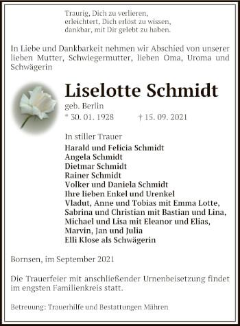 Traueranzeige von Liselotte Schmidt von UEL