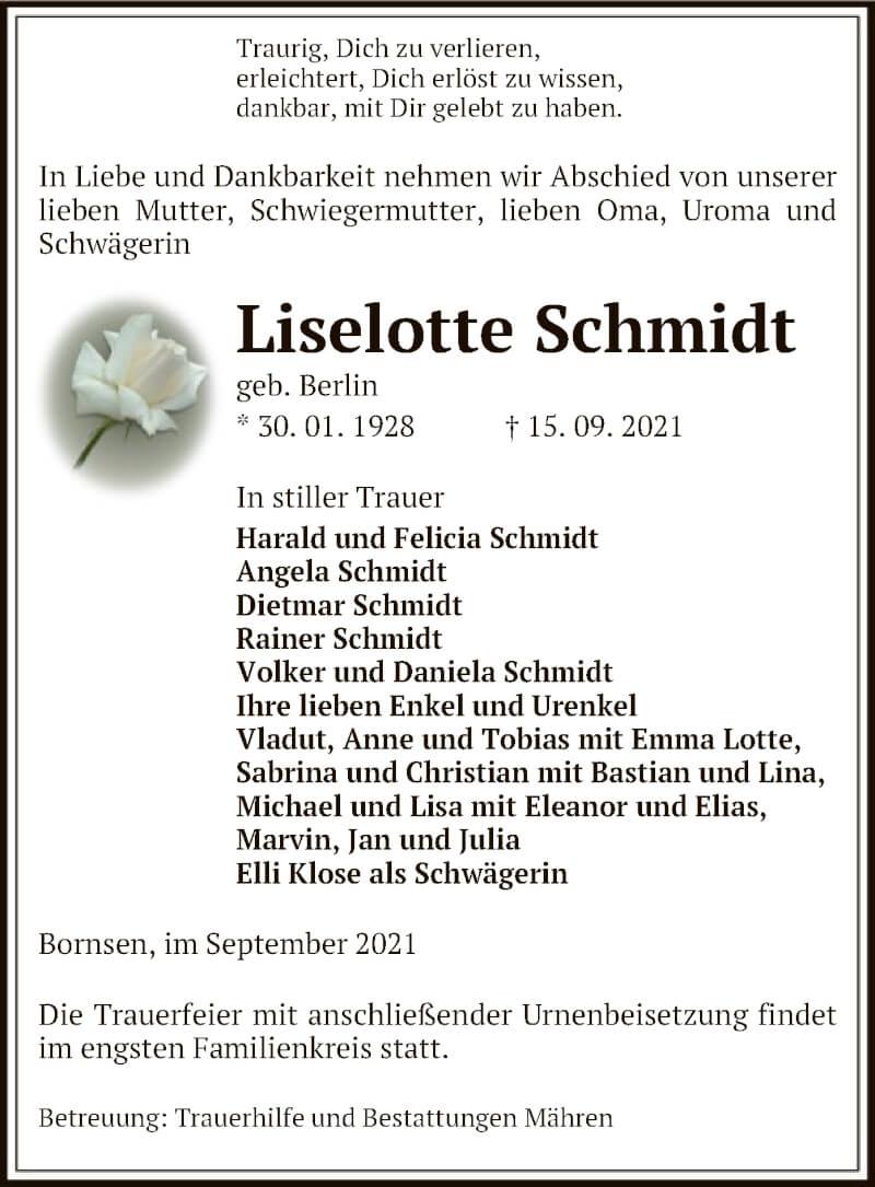 Traueranzeige für Liselotte Schmidt vom 17.09.2021 aus UEL