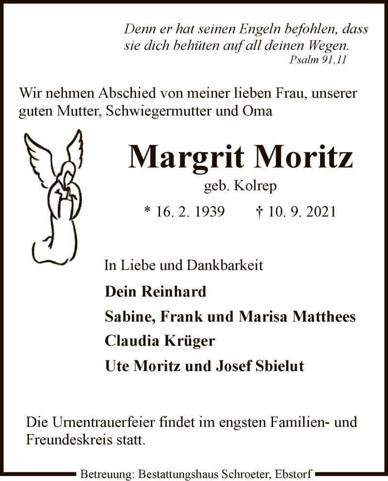 Traueranzeige für Margit Moritz vom 14.09.2021 aus UEL