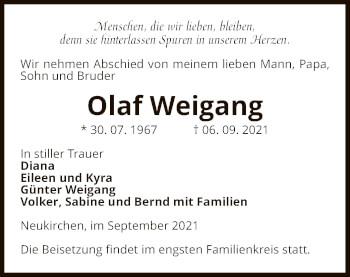 Traueranzeige von Olaf Weigang von UEL