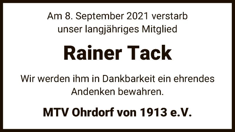 Traueranzeige für Rainer Tack vom 11.09.2021 aus UEL