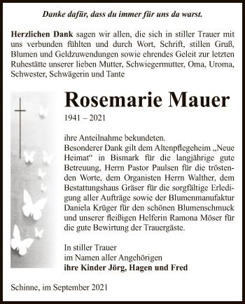 Traueranzeige von Rosemarie Mauer von UEL