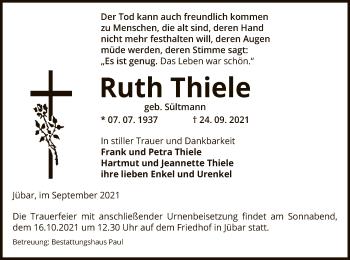 Traueranzeige von Ruth Thiele von UEL