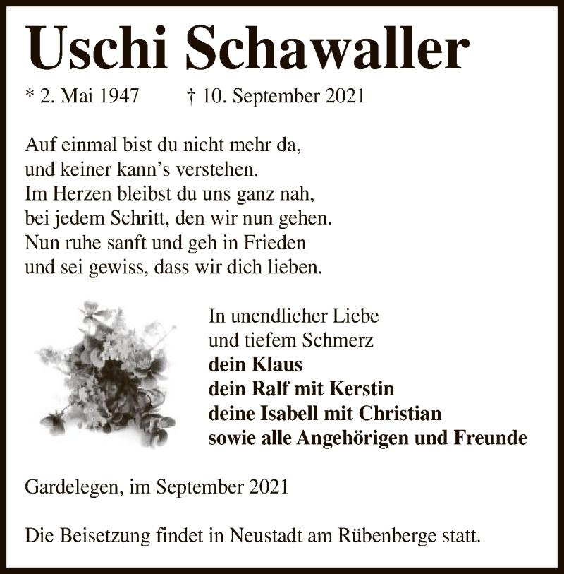 Traueranzeige für Uschi Schawaller vom 15.09.2021 aus UEL